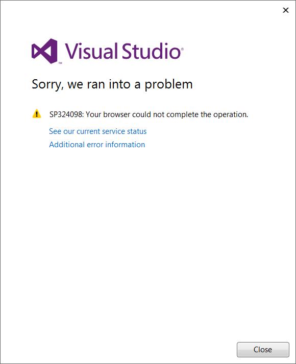 Visual Studio Error Dialog